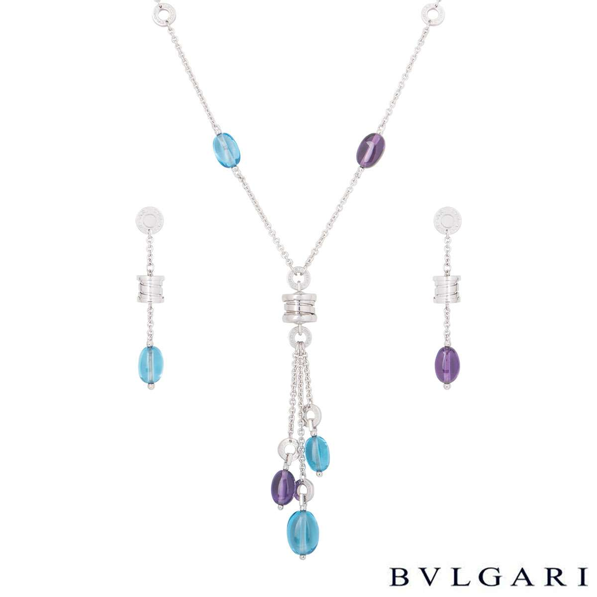 Bvlgari White Gold Amethyst And Topaz B.Zero1 Jewellery Suite